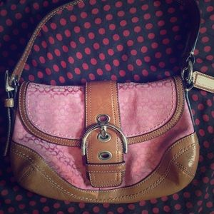 COACH Genuine Leather Signature Pink Shoulder Bag